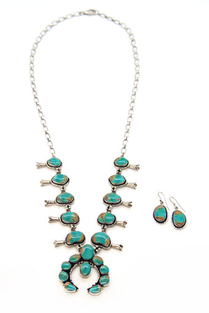 Royston Turquoise Squash Blossom Necklace Set