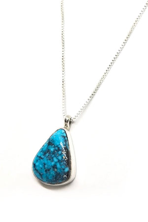 Natural Kingman Turquoise Teardrop Pendant with Chain