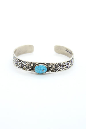 Load image into Gallery viewer, Oxidized Kingman Turquoise Cuff Bracelet