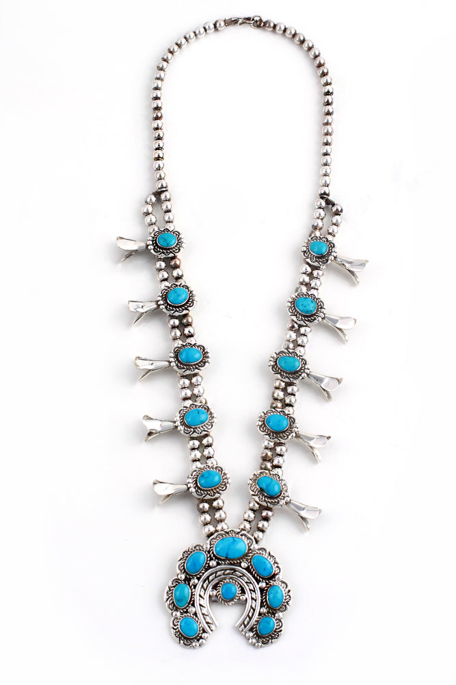 Navajo Brilliant Blue Turquoise Squash Blossom Necklace