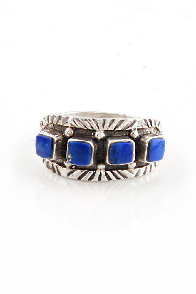 Load image into Gallery viewer, Lapis Lazuli Navajo Row Ring (Size 8 1/4)