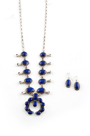 Navajo Lapis Lazuli Squash Blossom Necklace with Earrings