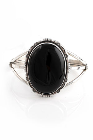 Load image into Gallery viewer, Large Black Onyx Navajo Cuff Bracelet