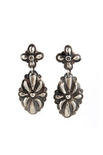 Navajo Oxidized Sterling Silver Repousse Post Earrings