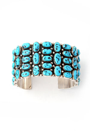 Load image into Gallery viewer, Bold Turquoise Cluster Cuff