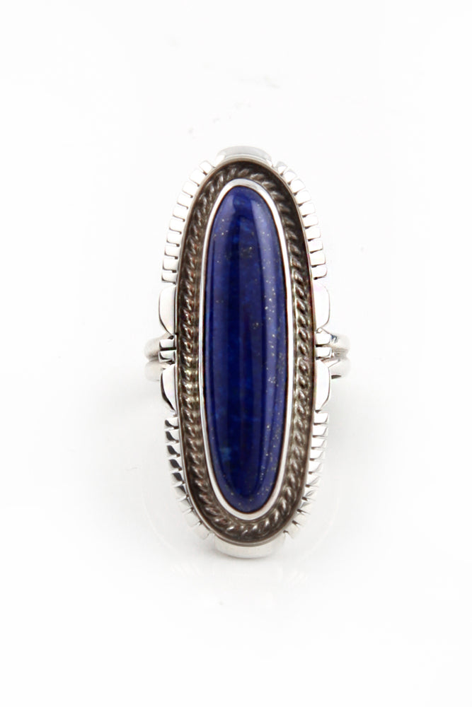 Load image into Gallery viewer, Elegant Navajo Lapis Ring (Size 7)