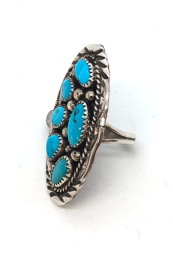 Marlene James Kingman Turquoise Cluster Ring (size 7.5)