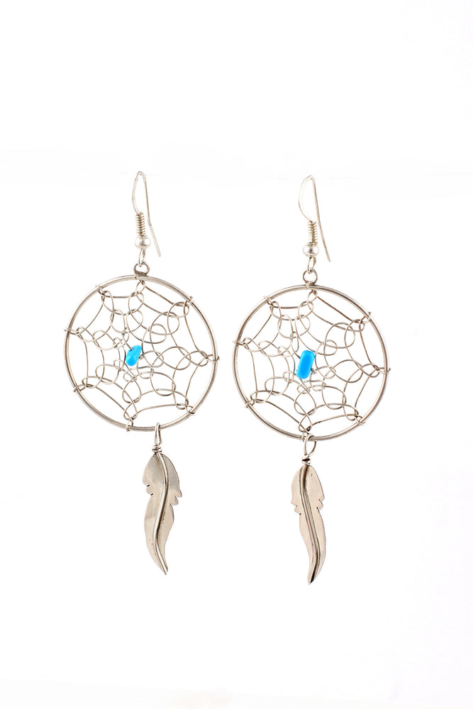 Navajo Handmade Dream Catcher Earrings