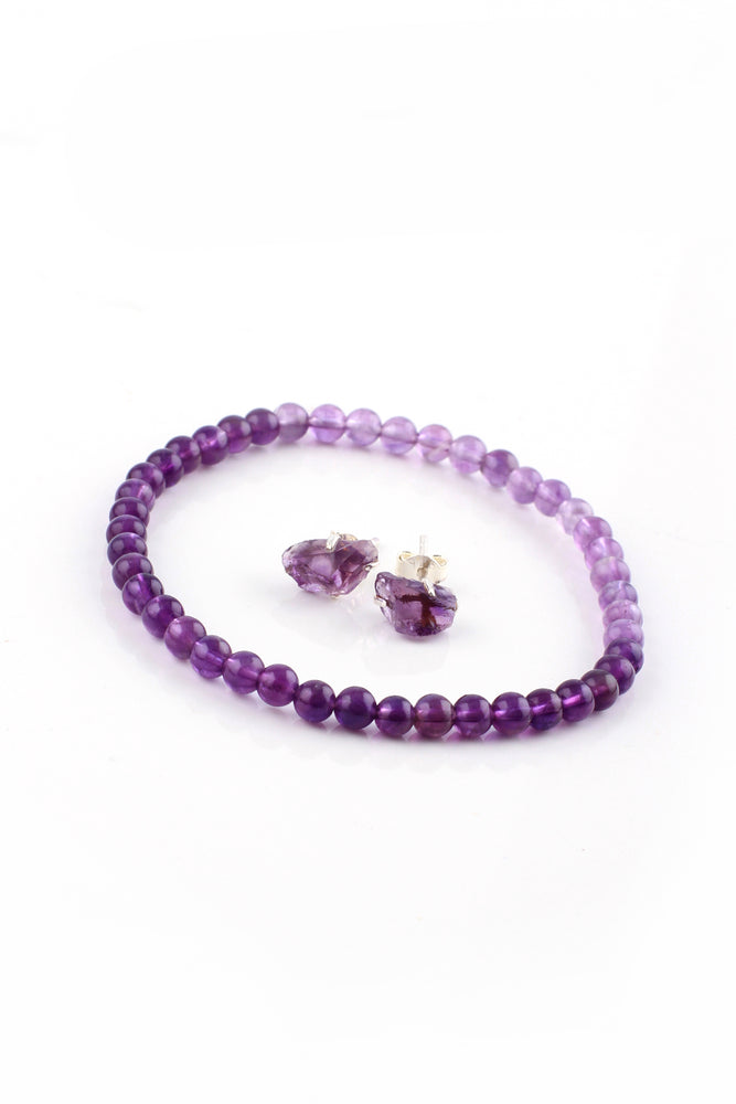 Load image into Gallery viewer, mini round amethyst bead bracelet stud set