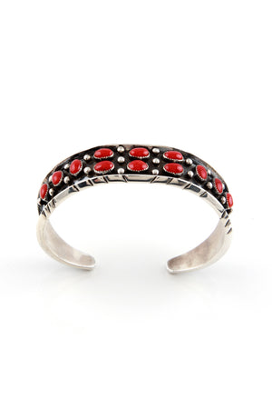 Load image into Gallery viewer, Navajo Red Coral Cuff Bracelet by Rose Castillo