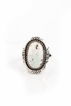 Navajo Dry Creek White Turquoise Ring (Size 7.5)