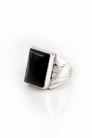 Milton Lee Modern Onyx Ring (Size 9)