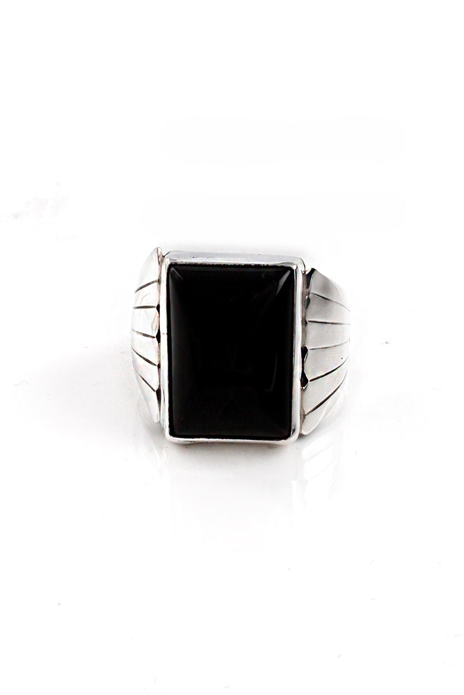 Load image into Gallery viewer, Milton Lee Modern Onyx Ring (Size 9)