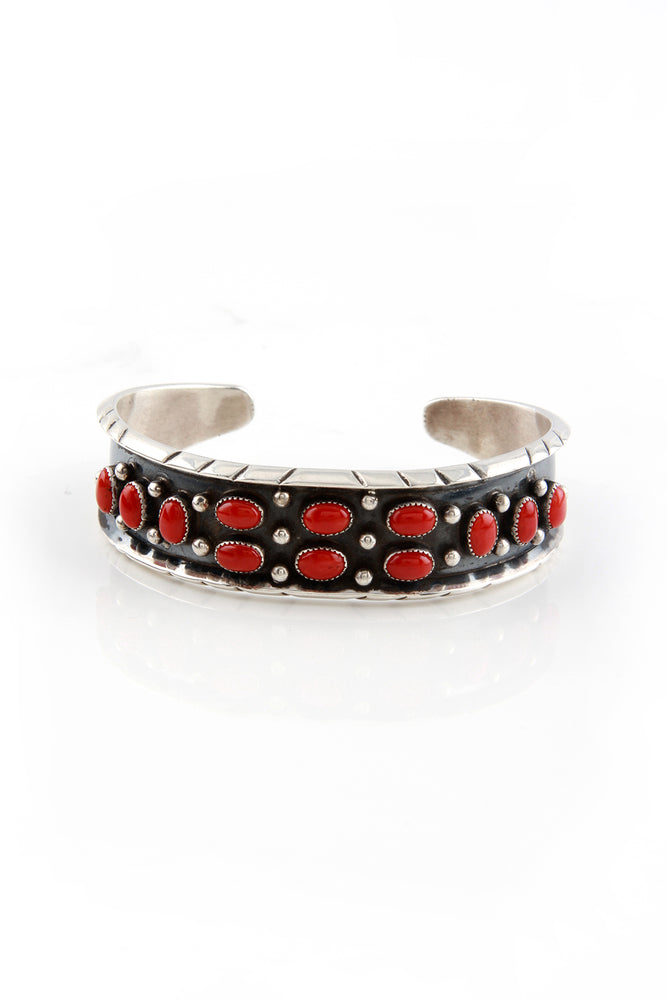 Navajo Red Coral Cuff Bracelet by Rose Castillo