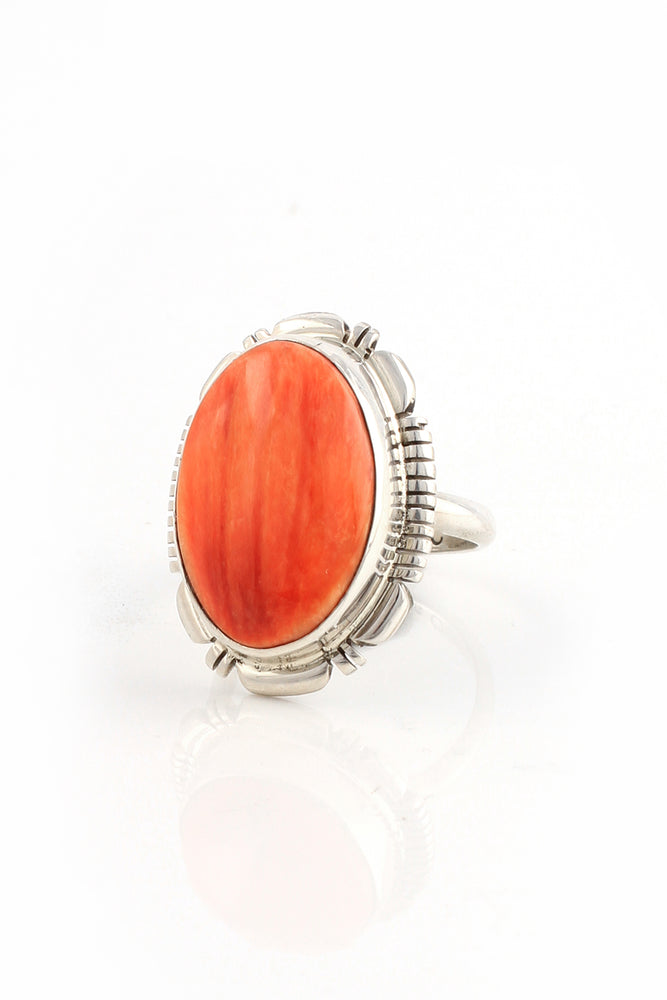 Load image into Gallery viewer, Orange Spiny Oyster Ring Size 7