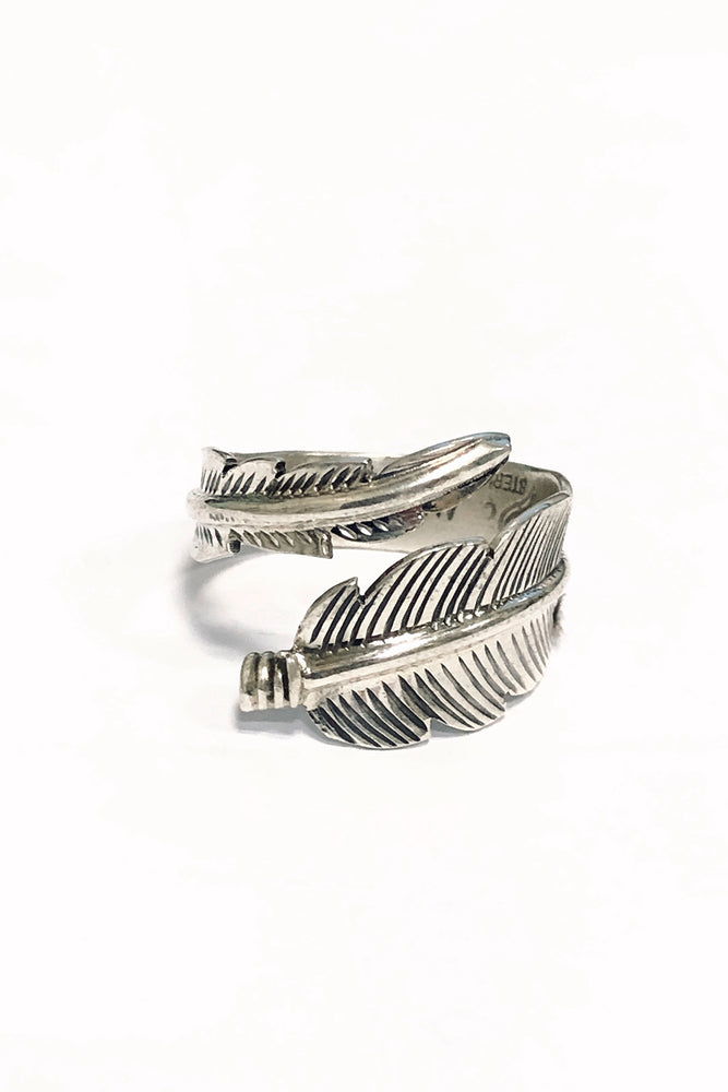 Navajo Sterling Silver Feather Adjustable Ring