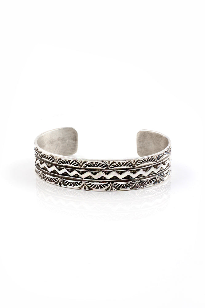 Stamped Sterling Silver Navajo Cuff