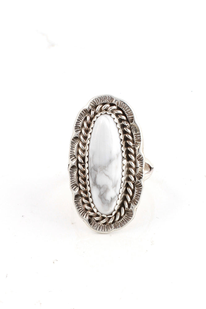 Oval White Buffalo Turquoise Ring (Size 7)