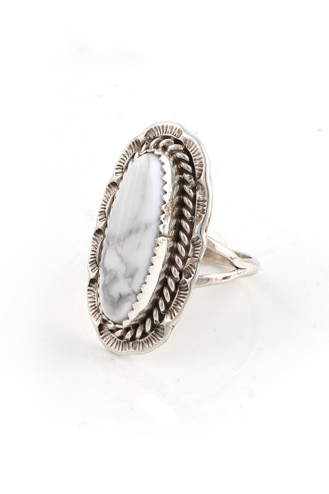 Load image into Gallery viewer, Oval White Buffalo Turquoise Ring (Size 7)