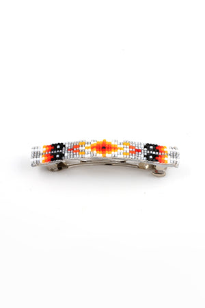 Load image into Gallery viewer, Gray Orange Navajo Beaded Barrette