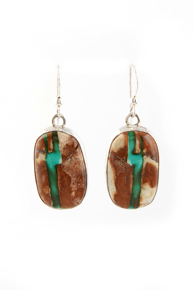 Oval Boulder Turquoise Earrings
