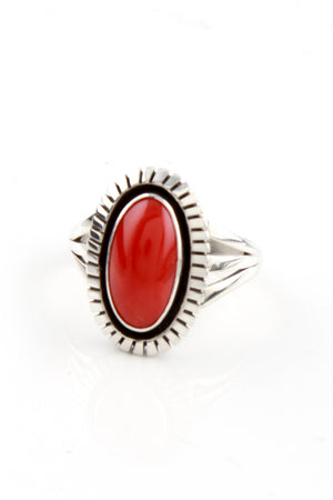 Load image into Gallery viewer, Navajo Lonnie Willie Mediterranean Red Coral Ring (Size 8)