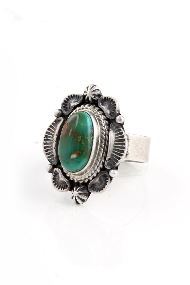 Load image into Gallery viewer, Robert Concho Sonora Gold Turquoise Ring (Size 9)