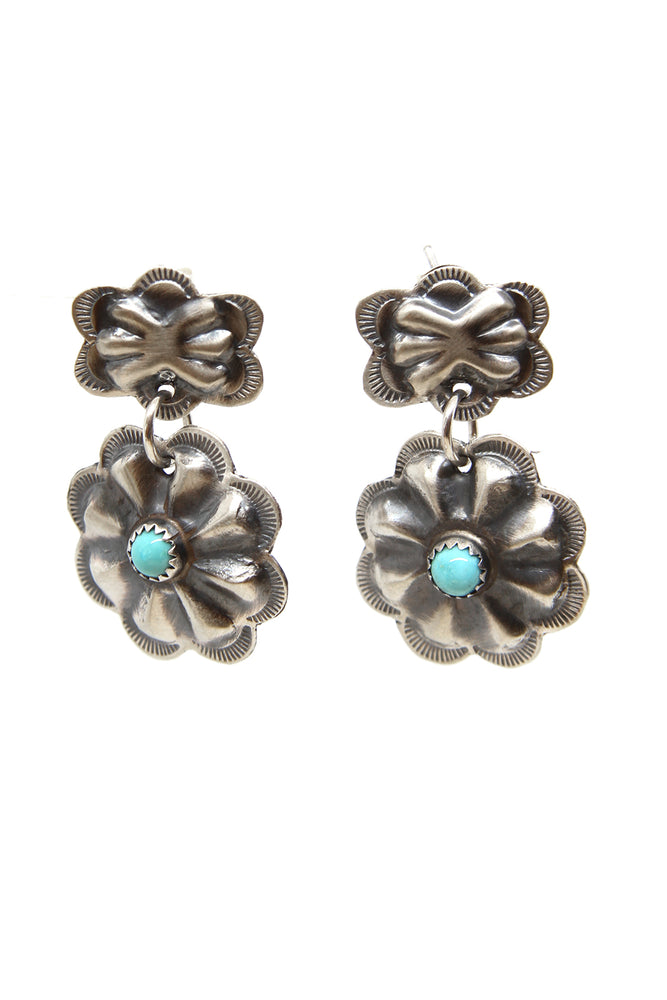 Oxidized Sterling Silver Turquoise Repousse Flower Earrings