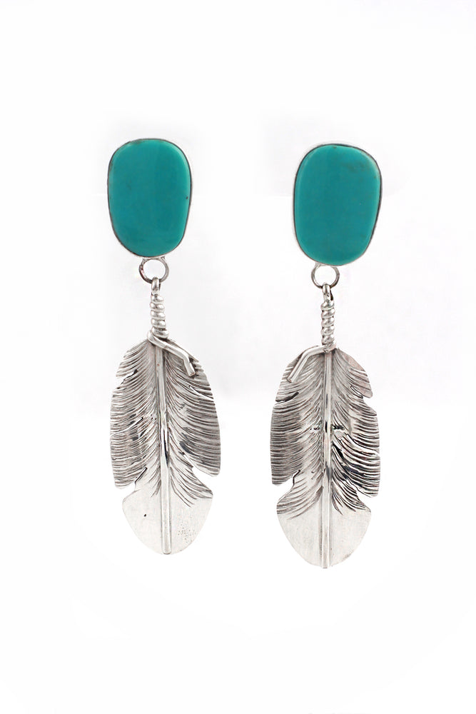 Turquoise and Sterling Silver Feather Earrings
