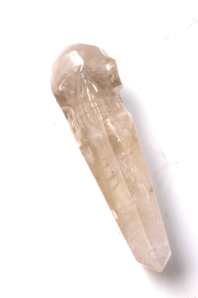 Rare Brazilian Smoky Quartz Crystal Skull Wand