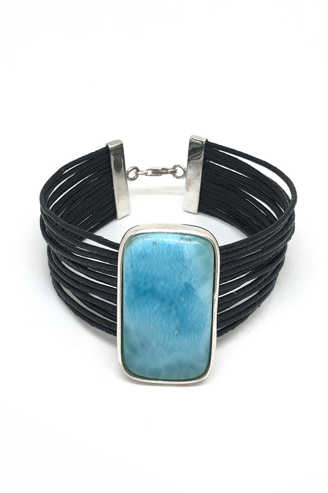 Larimar and Leather Rectangular Bracelet