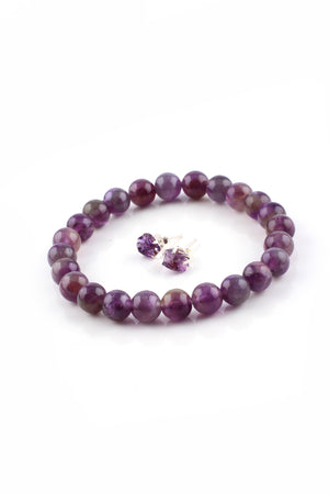 Load image into Gallery viewer, Round Amethyst Bead Bracelet Studs