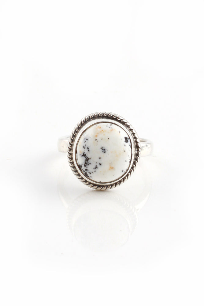 Load image into Gallery viewer, Round White Buffalo Turquoise Ring (Size 7)