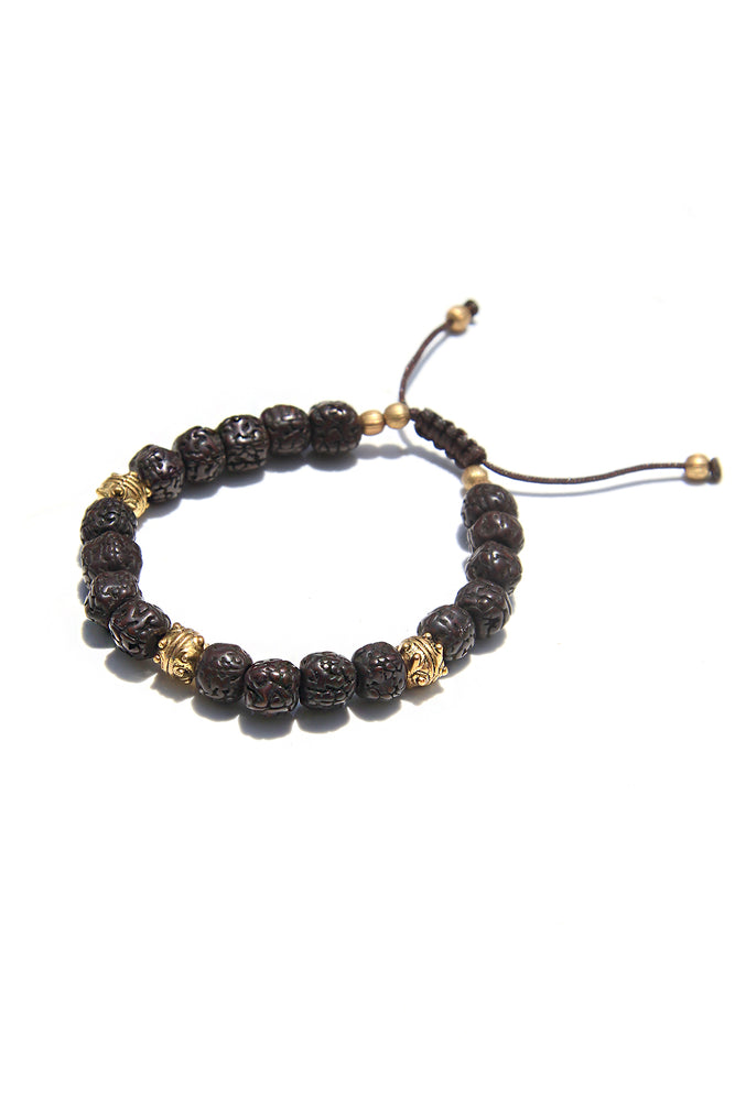 Bodhi Seed and Brass Bead Meditation Bracelet