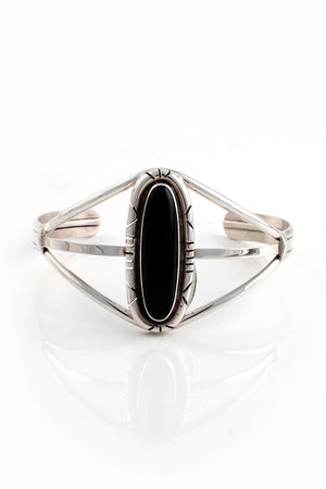 Onyx and Sterling Silver Cuff Bracelet