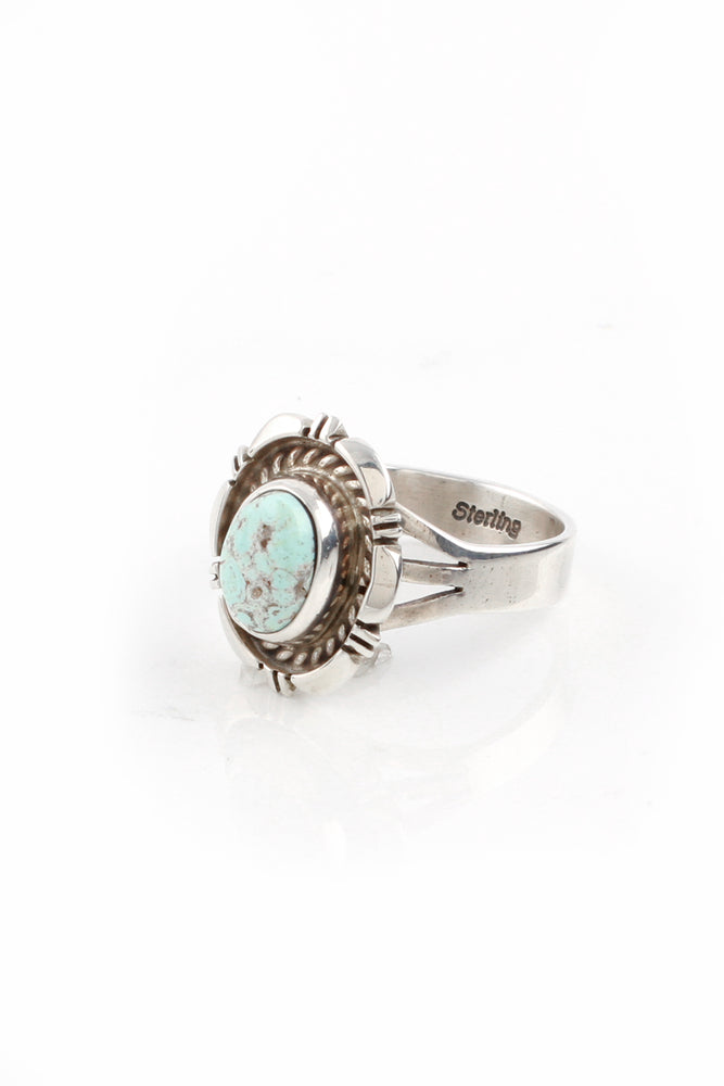 Navajo Dry Creek White Turquoise Ring (Size 9)