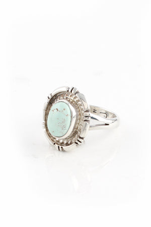 Small Navajo Dry Creek White Turquoise Ring (Size 6)