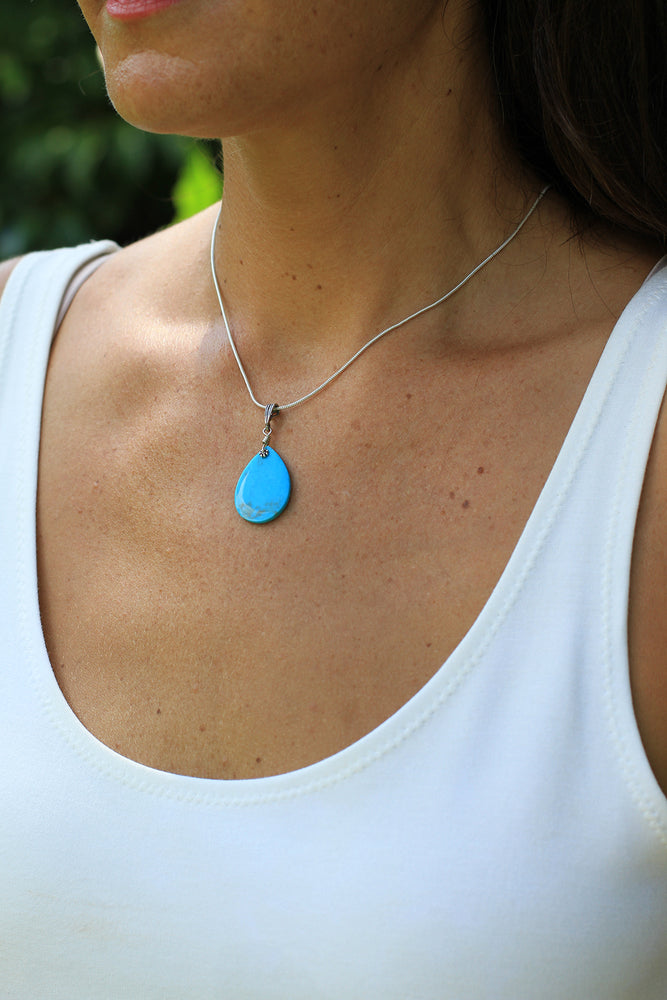 Blue Turquoise Small Slab Pendant