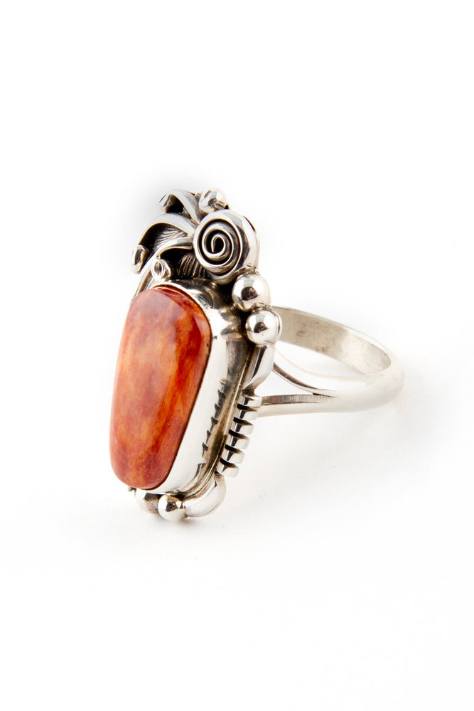 Load image into Gallery viewer, Navajo Applique Spiny Oyster Ring (Size 7 ½)