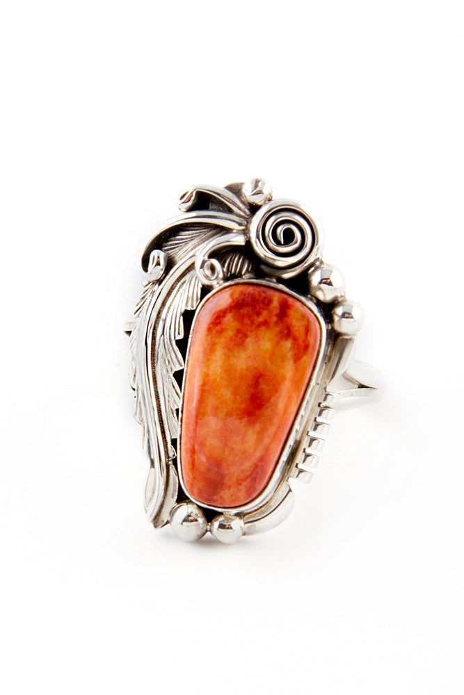 Navajo Applique Spiny Oyster Ring (Size 7 ½)