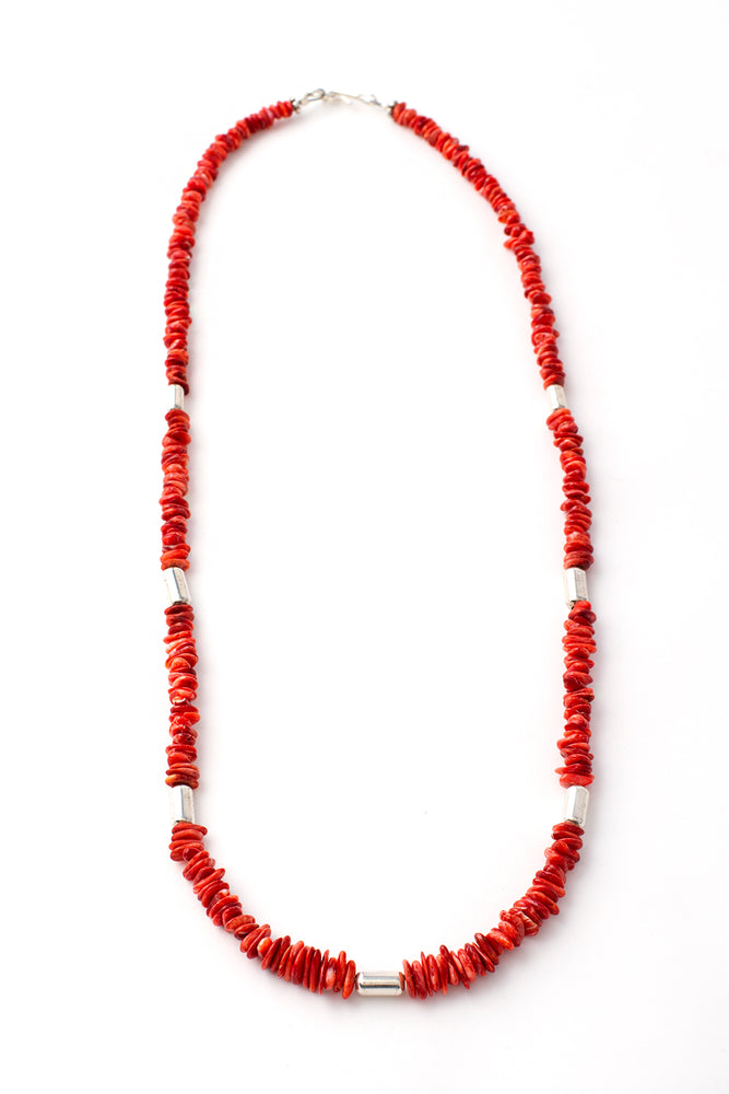 Red Spiny Oyster and Sterling Silver Necklace