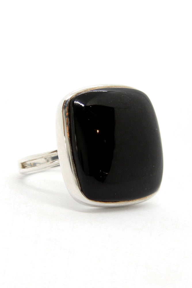 Square Black Onyx and Sterling Silver Ring (Size 9)