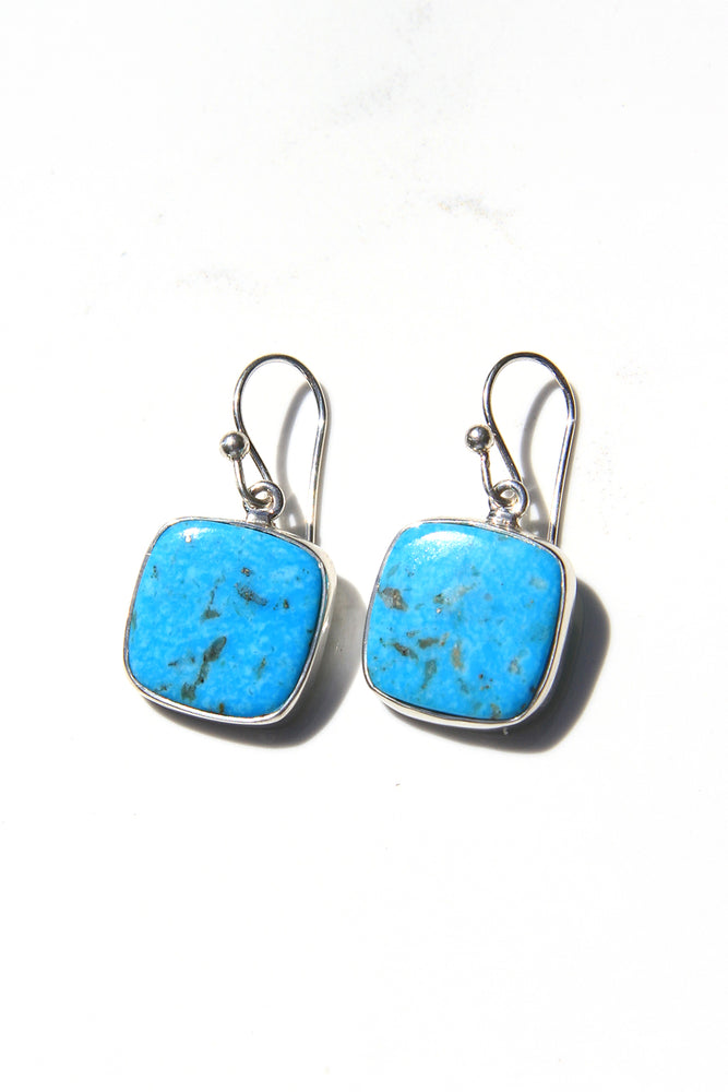 Turquoise Square Modern Earrings