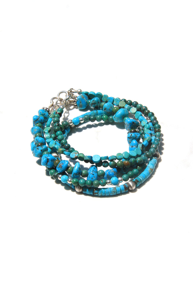 Load image into Gallery viewer, Turquoise Heishi and Oxidized Bead Bracelet