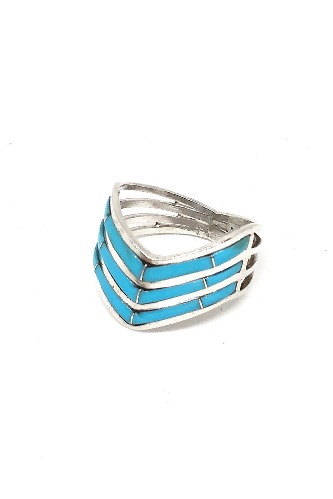 Zuni Stacked Inlay Turquoise Ring (8)