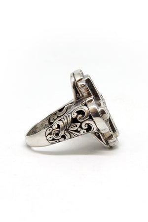 Sterling silver cross ring side view