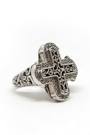 Sterling silver cross ring angled view