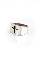 Sterling Silver Cut Out Cross Men's Ring