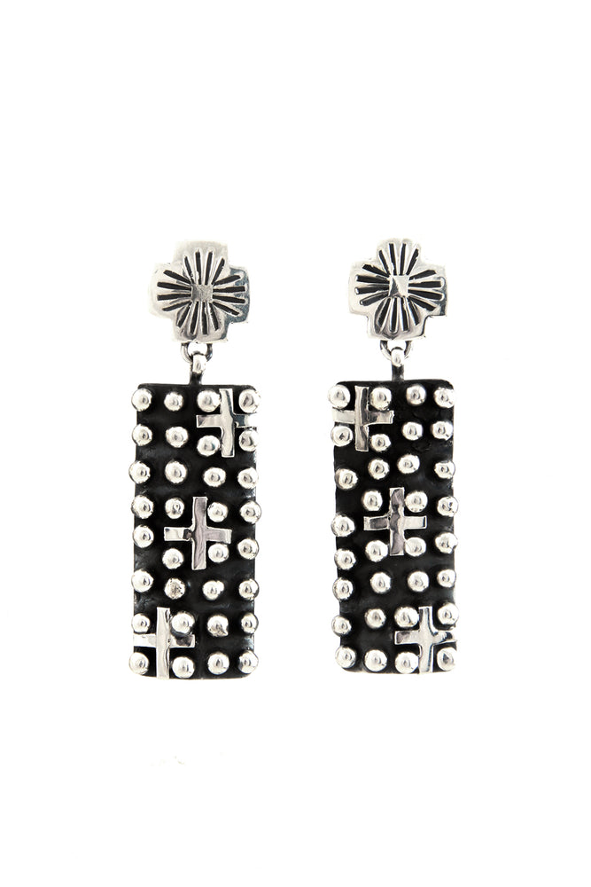 Load image into Gallery viewer, Santa Fe Cross Oxidized Sterling Silver Post Earrings