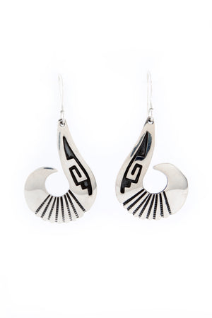 Everett and Mary Teller Curved Silver Overlay Earrings